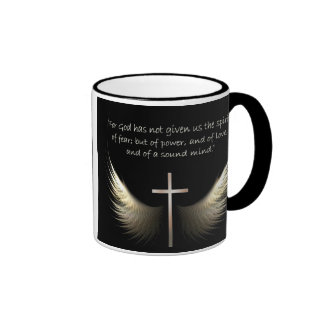 Holy Spirit Wings with Cross and Scripture Verse Ringer Mug
