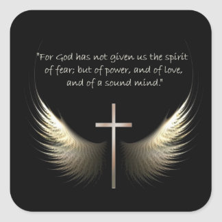 Holy Spirit Wings with Cross and Scripture Verse Square Sticker
