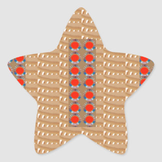 Holy Temple Art: Golden Embossed Foil n Red JEWELS Star Stickers
