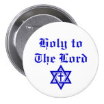 Holy to The Lord in Old English Cross and Star Pinback Buttons