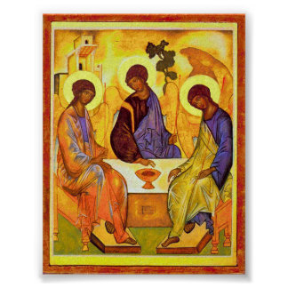 Holy Trinity by Andrei Rublev. Great painting titl Poster