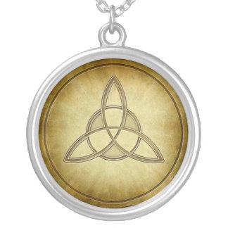 Holy Trinity Symbol Design Round Pendant Necklace