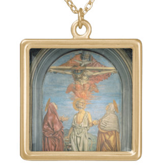 Holy Trinity with St. Jerome (fresco) Gold Plated Necklace