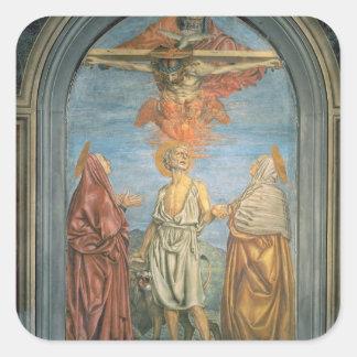 Holy Trinity with St. Jerome (fresco) Square Sticker