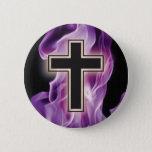 HOLY VIOLET FIRE CROSS! CHRISTIAN SPIRITUAL POWER BUTTON