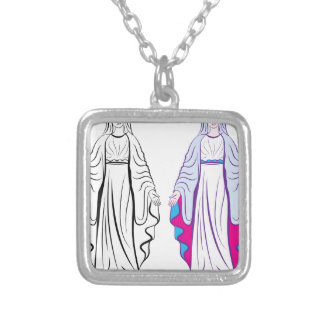 Holy Virgin Godmother vector Silver Plated Necklace