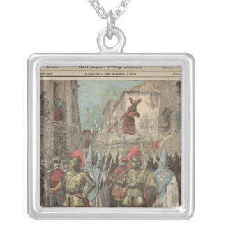 Holy Week in Seville Square Pendant Necklace