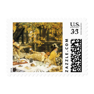 Holyday The Picnic by James Tissot Victorian Art Postage Stamp