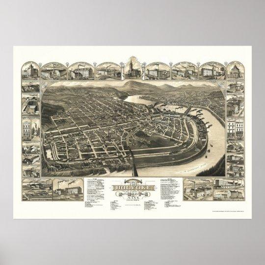 Holyoke, MA Panoramic Map - 1881 Poster