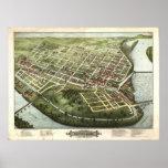 Holyoke Massachusetts 1877 Antique Panoramic Map Print