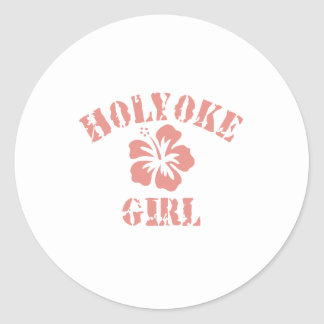 Holyoke Pink Girl Classic Round Sticker