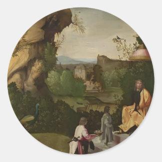Homage to a poet by Giorgione Round Sticker