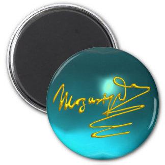 HOMAGE TO MOZART,blue aquamarine. turquase Magnet