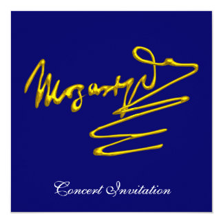 """HOMAGE TO MOZART, BLUE CONCERT 5.25"""" SQUARE INVITATION CARD"""