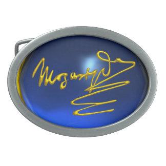 HOMAGE TO MOZART ,Blue Sapphire Gemstone Oval Belt Buckle