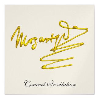 "HOMAGE TO MOZART, CHAMPAGNE METALLIC CONCERT 5.25"" SQUARE INVITATION CARD"