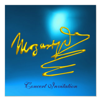 """HOMAGE TO MOZART, GOLD  BLUE CONCERT 5.25"""" SQUARE INVITATION CARD"""