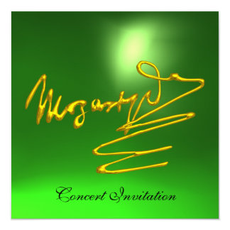"""HOMAGE TO MOZART, GOLD  GREEN CONCERT 5.25"""" SQUARE INVITATION CARD"""