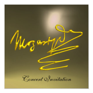 """HOMAGE TO MOZART, GOLD  GREY CONCERT 5.25"""" SQUARE INVITATION CARD"""