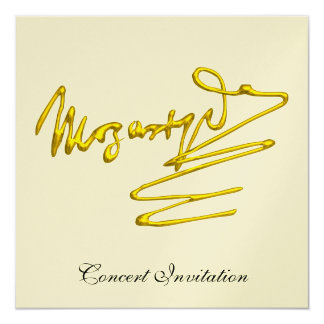 """HOMAGE TO MOZART, GOLD METALLIC CONCERT 5.25"""" SQUARE INVITATION CARD"""