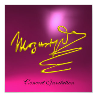 """HOMAGE TO MOZART, GOLD  PINK CONCERT 5.25"""" SQUARE INVITATION CARD"""