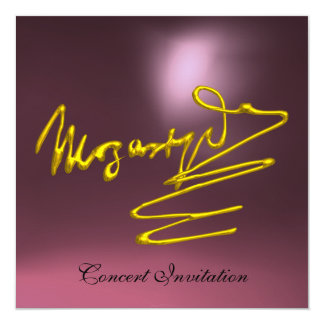 """HOMAGE TO MOZART, GOLD  PINK PURPLE CONCERT 5.25"""" SQUARE INVITATION CARD"""
