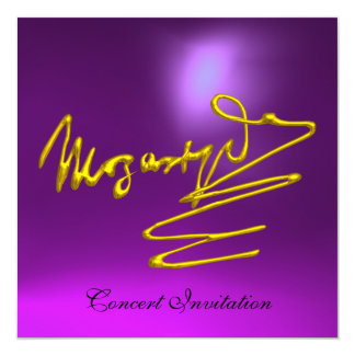 """HOMAGE TO MOZART, GOLD  PURPLE CONCERT 5.25"""" SQUARE INVITATION CARD"""