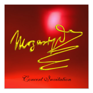 """HOMAGE TO MOZART, GOLD  RED CONCERT 5.25"""" SQUARE INVITATION CARD"""