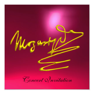 """HOMAGE TO MOZART, GOLD RED  PINK  CONCERT 5.25"""" SQUARE INVITATION CARD"""