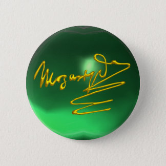 HOMAGE TO MOZART Gold Signature of Composer Green Pinback Button