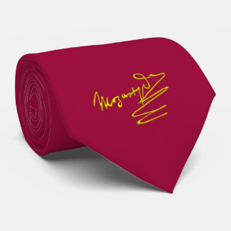 HOMAGE TO MOZART Gold Signature Of Composer Red Neck Tie