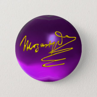 HOMAGE TO MOZART Gold Signature Purple Amethyst Pinback Button