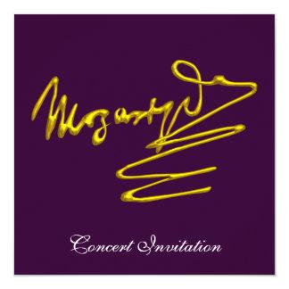 "HOMAGE TO MOZART, PURPLE CONCERT 5.25"" SQUARE INVITATION CARD"