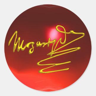 HOMAGE TO MOZART,red ruby Round Sticker