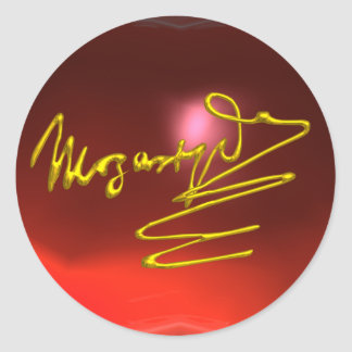 HOMAGE TO MOZART,red ruby Round Stickers