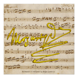 HOMAGE TO MOZART Signature,Music Sheet for piano Poster