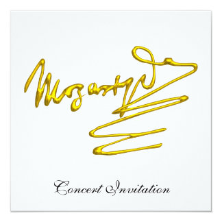 """HOMAGE TO MOZART,  WHITE CONCERT 5.25"""" SQUARE INVITATION CARD"""