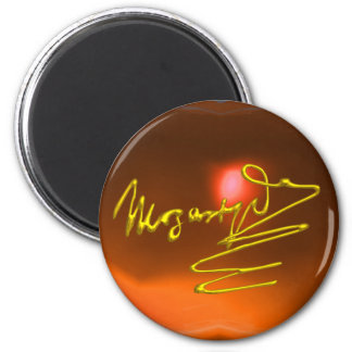 HOMAGE TO MOZART,yellow orange agate Magnet