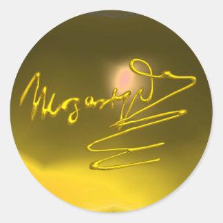 HOMAGE TO MOZART, yellow topaz Round Stickers