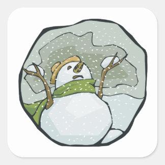 Hombre 2 de la nieve calcomanía cuadradas personalizadas
