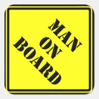 Hombre a bordo calcomanías cuadradas