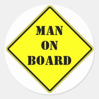 Hombre a bordo etiquetas redondas