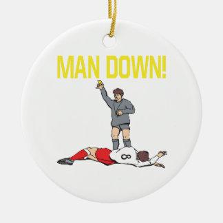 Hombre abajo adorno navideño redondo de cerámica