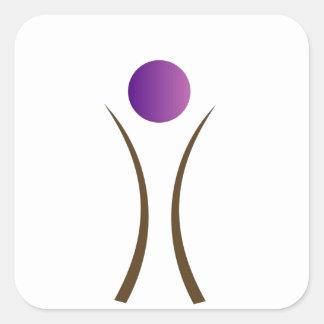 hombre abstracto con la cabeza púrpura pegatina cuadrada