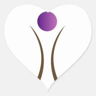 hombre abstracto con la cabeza púrpura pegatina en forma de corazón
