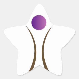 hombre abstracto con la cabeza púrpura pegatina en forma de estrella