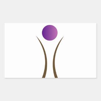 hombre abstracto con la cabeza púrpura pegatina rectangular