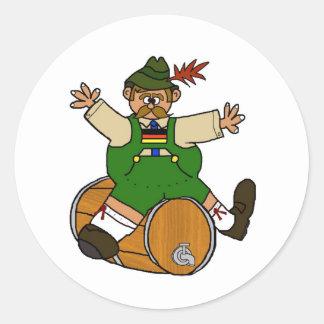 Hombre alemán en los pegatinas del barrilete de etiquetas redondas