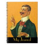 Hombre apuesto agudo de los mordedores del diario  cuaderno