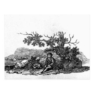Hombre asentado por un árbol impedido postal
